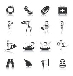 Lifeguard Black Icons Set vector image