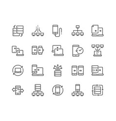 Line data exchange icons vector
