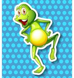 Little green frog dancing vector