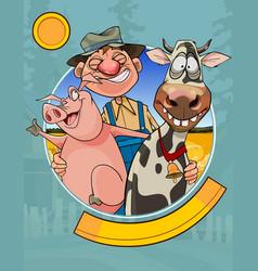 Logo a cartoon joyful farmer with a pig and a vector