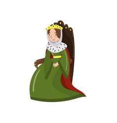 majestic queen in golden crown sitting on wooden vector image