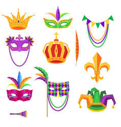 Mardi gras colorful decorative elements on white vector
