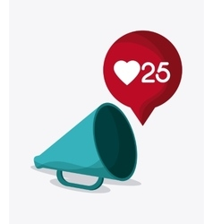 Megaphone heart bubble social media icon vector