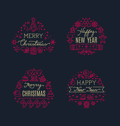 Merry christmas greeting scripts with xmas holiday vector
