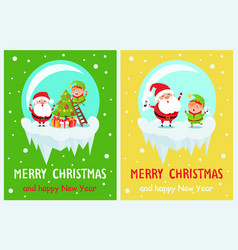 Merry christmas happy new year poster santa elf vector
