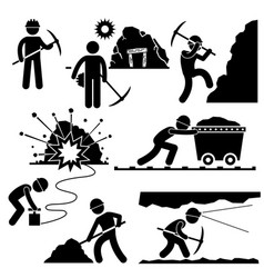 mining worker miner labor stick figure pictograph vector image