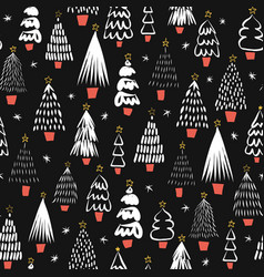 modern abstract christmas trees black on white vector image