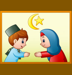 muslim couple kid will do handshake to apologize f vector image