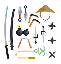 Ninja weapons set assassin accessories vector