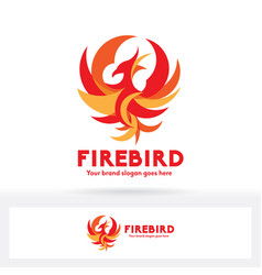 Phoenix logo fire bird logo flat and modern design vector