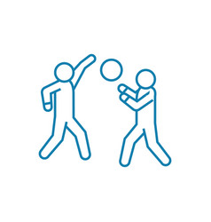 playing volleyball linear icon concept playing vector image