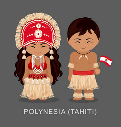 polynesians in national dress with a flag vector image
