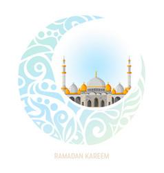 ramadan kareem greeting card layout with mosque vector image