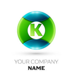 Realistic letter k logo symbol in colorful circle vector