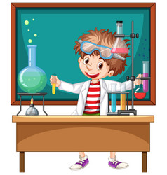 Researcher experiment in laboratory vector