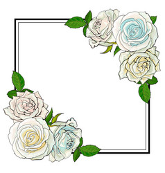 Roses bouquet elements in sketch style at corners vector