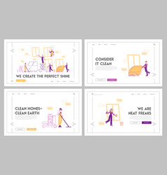 service professional cleaners work landing page vector image