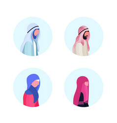 set arab man woman profile avatar icon isolated vector image