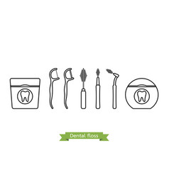set of dental floss type - cartoon outline style vector image