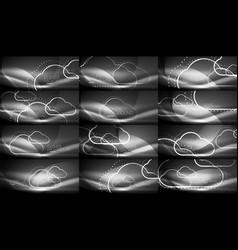 set of neon cloud computing backgrounds vector image