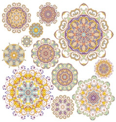set twelve colorful ornaments vector image