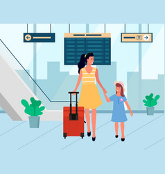 smiling travelers arrive family in airport vector image