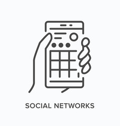 social media networks flat line icon vector image