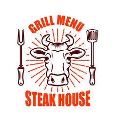 Steak house bull head and crossed kitchen knives vector