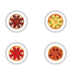 Stickers assembly pizza with mushrooms and olives vector