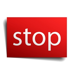 stop red paper sign isolated on white vector image