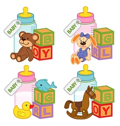 toys and accessories for baby girls and boys vector image