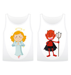 Two shirts design with angel and devil vector