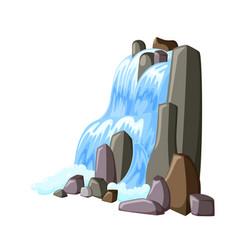Waterfall cascade in rocks water splashing down vector