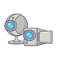 webcam and camera record video devices vector image