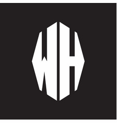wh logo monogram with octagonal ribbon style vector image