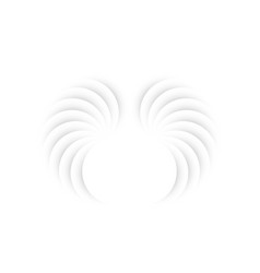 White angel wings in paper cut style logo template vector