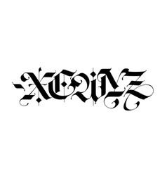 X e w y z in gothic style letters vector