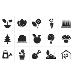 Black Different Plants and gardening Icons vector image vector image