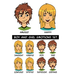 boy and girl emotions set vector image