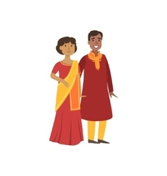 Couple In Indian National Clothes vector image vector image