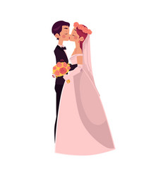 groom and bride kiss each other isolated vector image