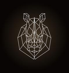 rhinoceros head geometric lines silhouette icon vector image