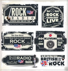 Rock music banner set vector image