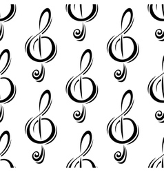 Black treble clefs seamless pattern vector image vector image