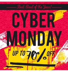 Cyber Monday sale banner on red background vector image vector image
