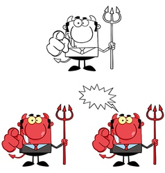 Devil Boss With A Trident And Hand Pointing Finger vector image vector image