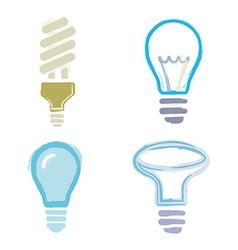 light bulb symbols icons cartoon paint set vector image vector image