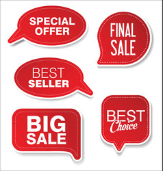modern sale sticker and tag red collection 2 vector image