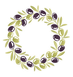 Round ornament wreath of black and green olives vector