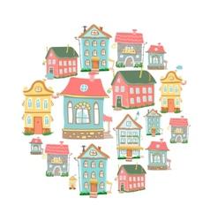 set of hand-drawn Cute cartoon houses vector image vector image